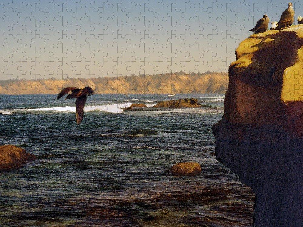 Ocean Puzzle featuring the digital art Sea Cliff by Steve Karol