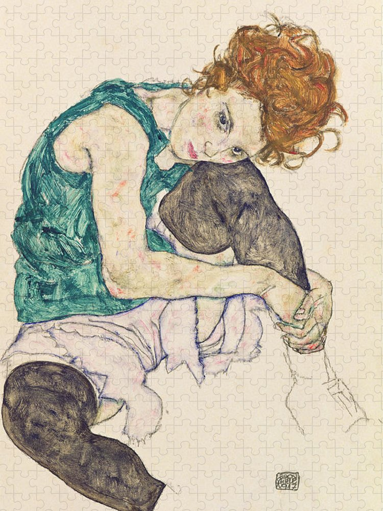 Egon Schiele Puzzle featuring the painting Seated Woman with Bent Knee by Egon Schiele