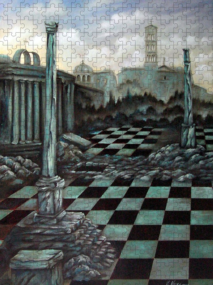 Surreal Puzzle featuring the painting Sepulchre by Valerie Vescovi
