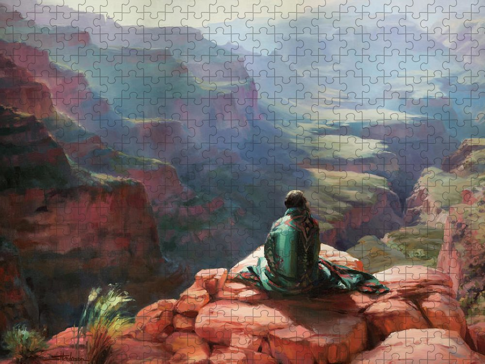 Southwest Puzzle featuring the painting Serenity by Steve Henderson