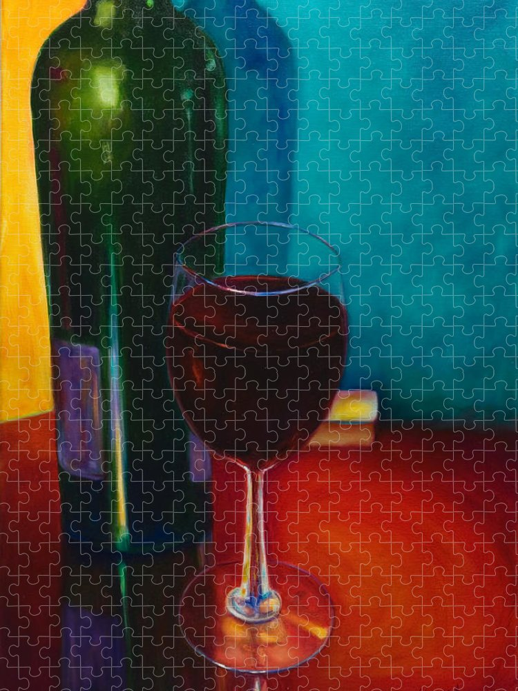 Wine Bottle Puzzle featuring the painting Shannon's Red by Shannon Grissom