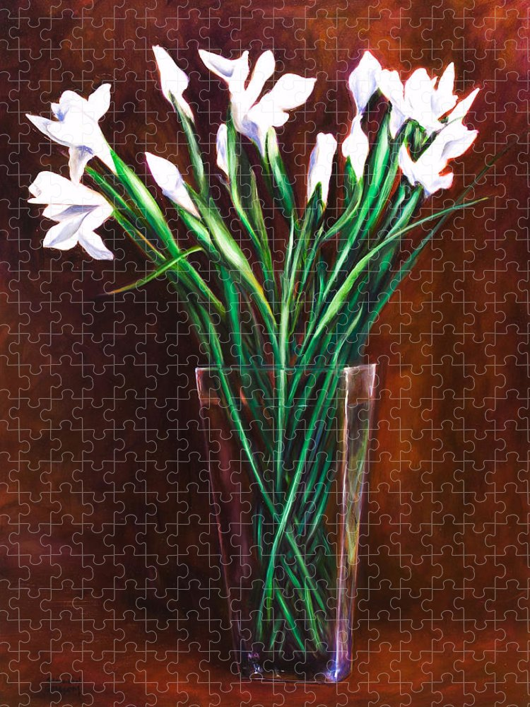 Iris Puzzle featuring the painting Simply Iris by Shannon Grissom