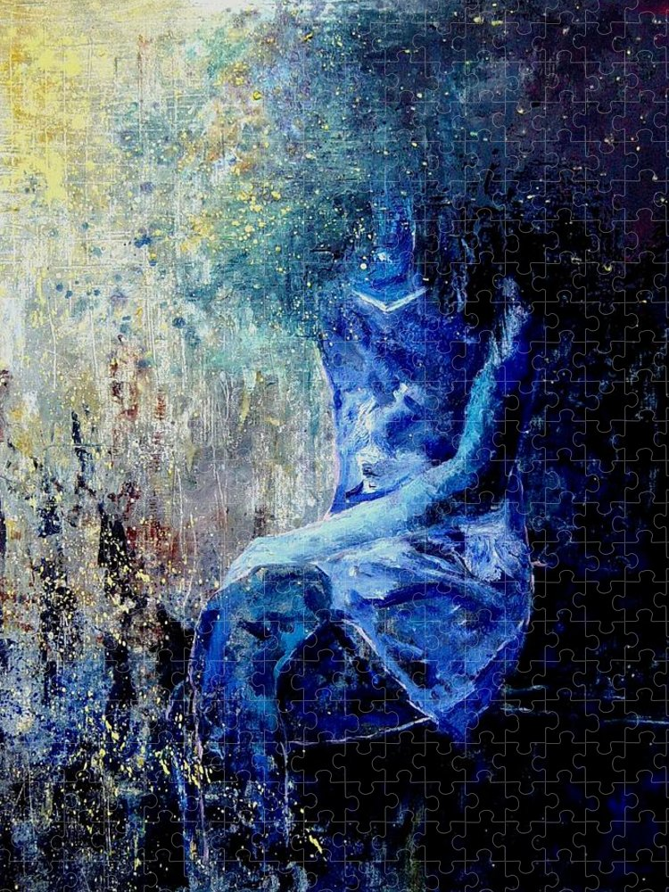 Woman Girl Fashion Puzzle featuring the painting Sitting Young Girl by Pol Ledent