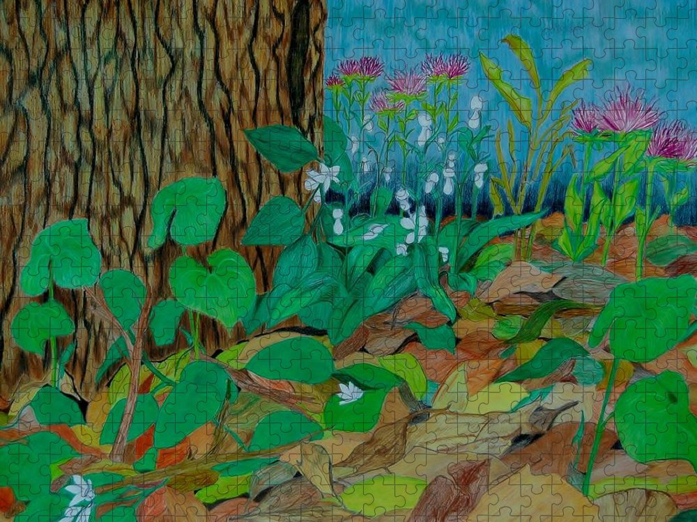 Tree Puzzle featuring the mixed media Six in hiding by Charla Van Vlack