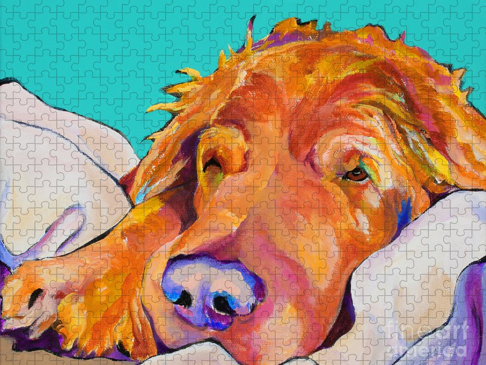 Dog Poortraits Puzzle featuring the painting Snoozer King by Pat Saunders-White