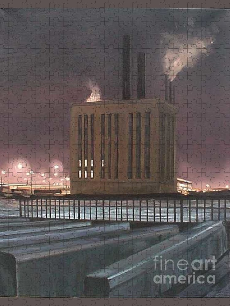 Power Plant Near Roosevelt Road And The Chicago River During An Especially Cold Winter Night. Puzzle featuring the painting South Side Night by Christopher Buoscio