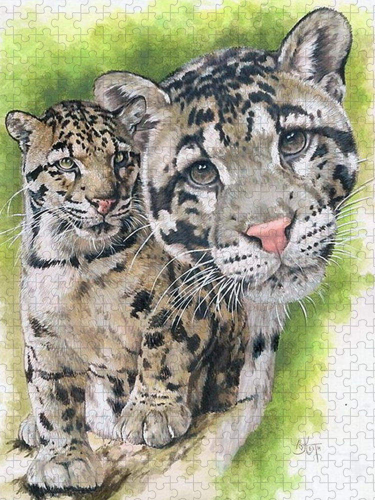Clouded Leopard Puzzle featuring the mixed media Sovereignty by Barbara Keith