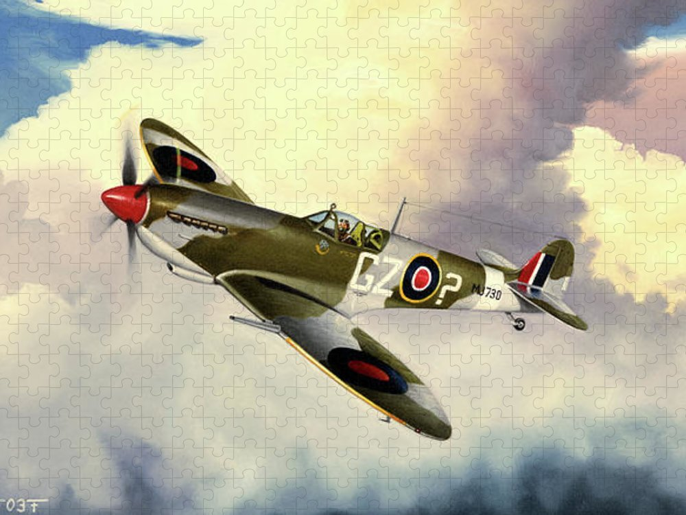 Military Puzzle featuring the painting Spitfire by Marc Stewart