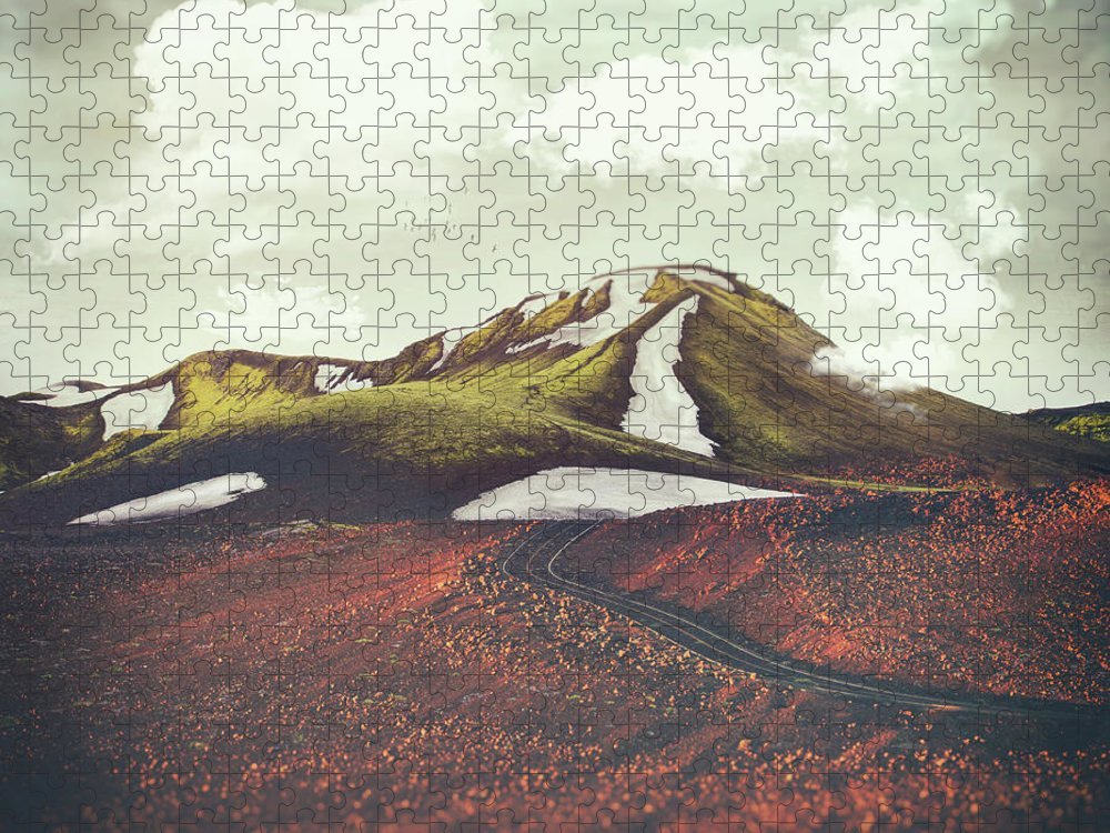 Landscape Spring Winter Dreamscape Hills Mountains Puzzle featuring the digital art Spring Thaw by Katherine Smit