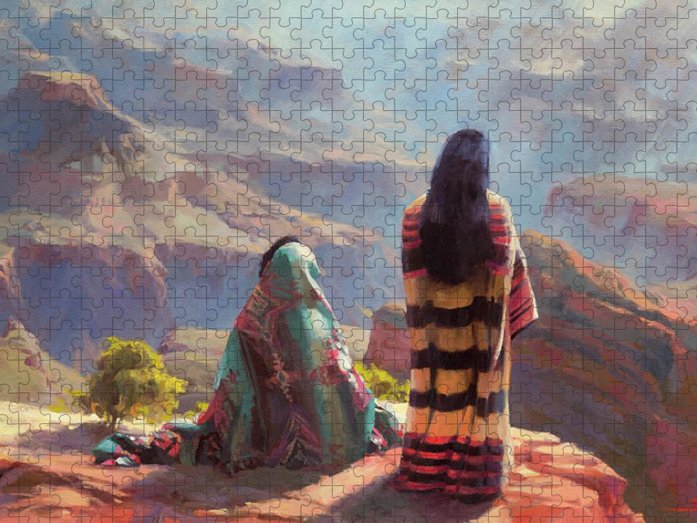 Southwest Puzzle featuring the painting Stillness by Steve Henderson