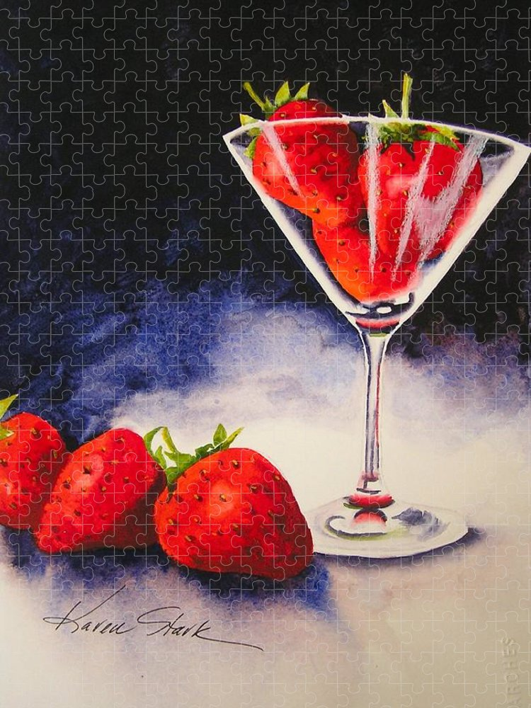Strawberry Puzzle featuring the painting Strawberrytini by Karen Stark