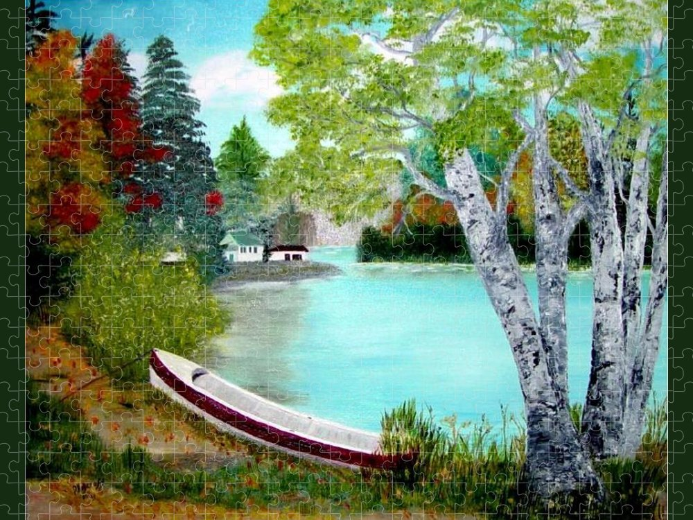 Beautiful Bracebridge Ontario Oil Painting Puzzle featuring the painting Summer In The Muskoka's by Peggy Holcroft