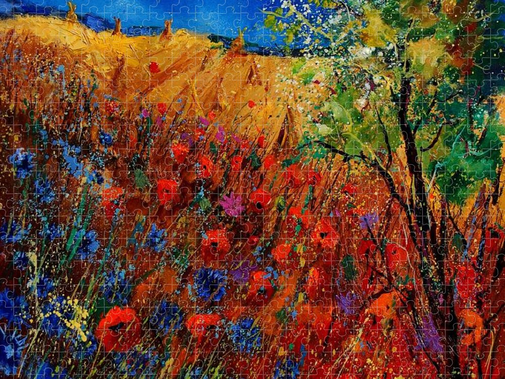Flowers Puzzle featuring the painting Summer landscape with poppies by Pol Ledent