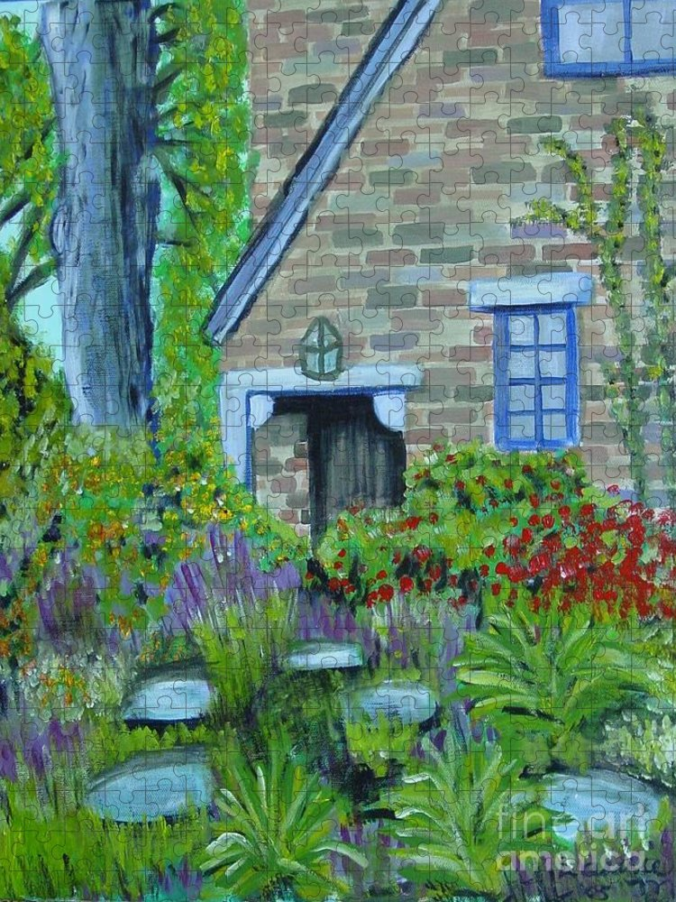 Cottage Puzzle featuring the painting Summer Retreat by Laurie Morgan