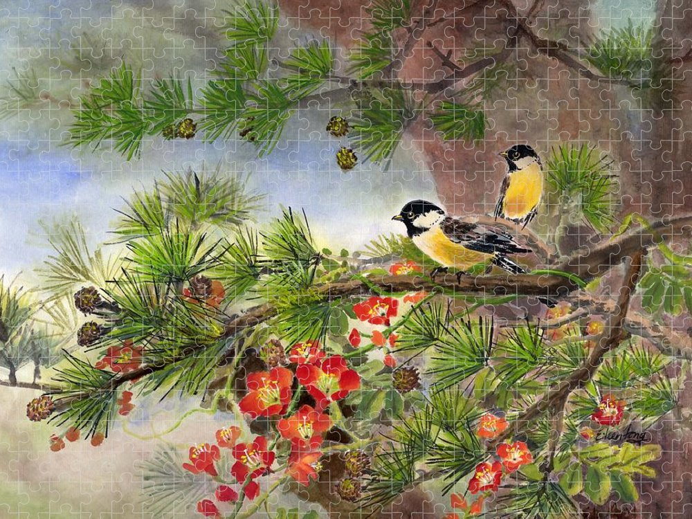 Chinese Trumpet Vine Puzzle featuring the painting Summer Vine With Pine Tree by Eileen Fong