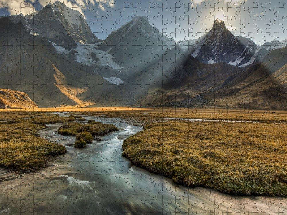 00498205 Puzzle featuring the photograph Sun Setting Behind Jirishanca Peak by Colin Monteath