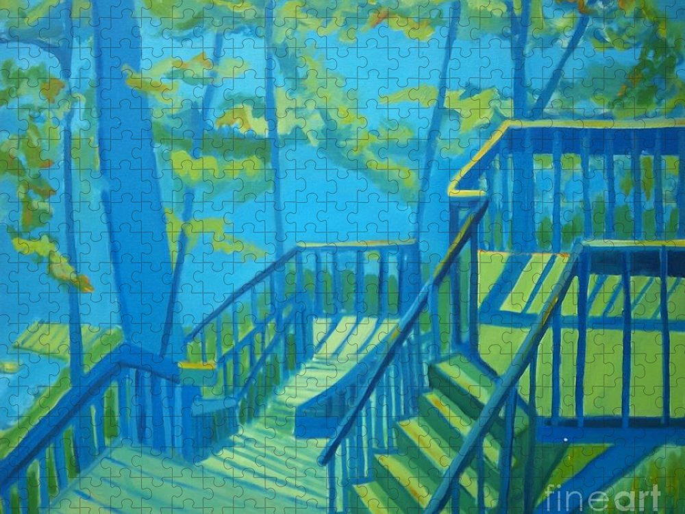 New Hampshire Puzzle featuring the painting Suncook Stairwell by Debra Bretton Robinson