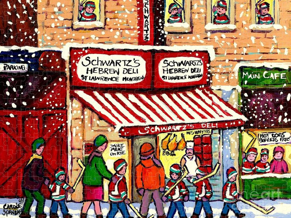 Montreal Puzzle featuring the painting Sunday Lineup at the Deli by Carole Spandau