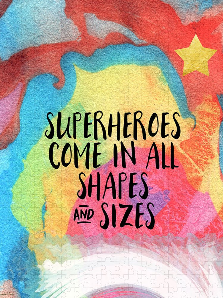 Inspirational Puzzle featuring the painting Superheroes- inspirational art by Linda Woods by Linda Woods