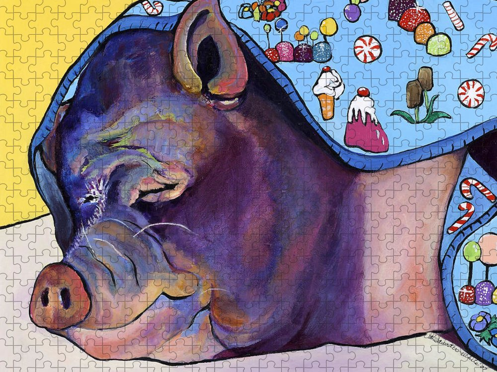 Farm Animal Puzzle featuring the painting Sweet Dreams by Pat Saunders-White