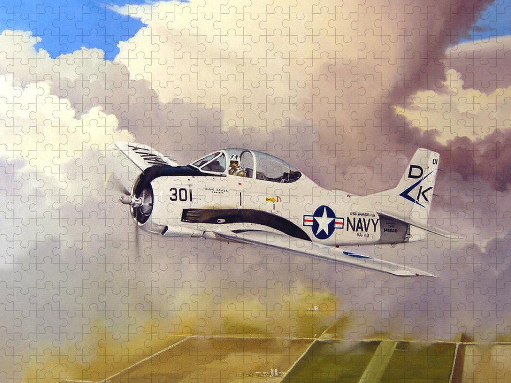 Military Puzzle featuring the painting T-28 Over Iowa by Marc Stewart