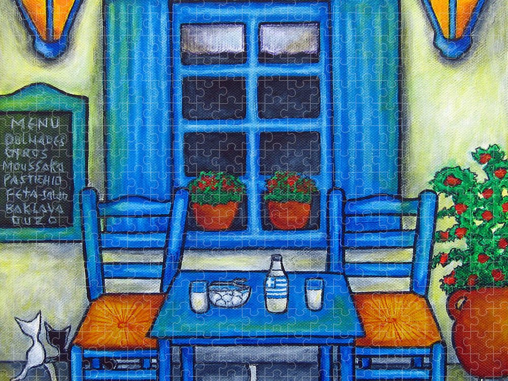 Blues Puzzle featuring the painting Table for Two in Greece by Lisa Lorenz