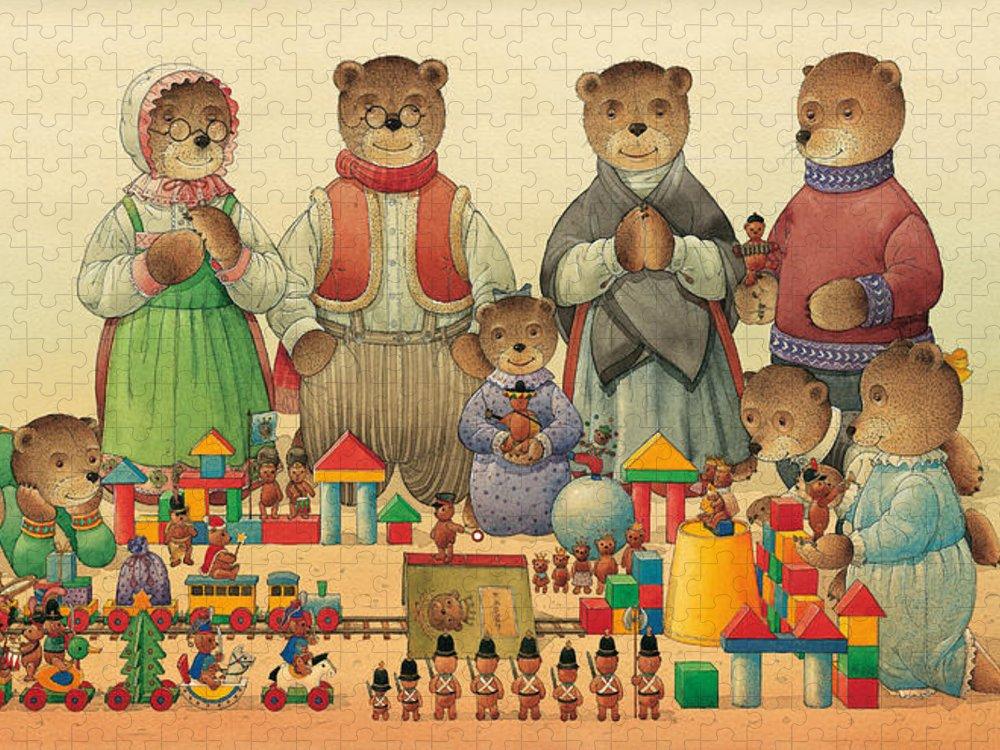 Christmas Greeting Cards Teddybear Puzzle featuring the painting Teddybears and Bears Christmas by Kestutis Kasparavicius
