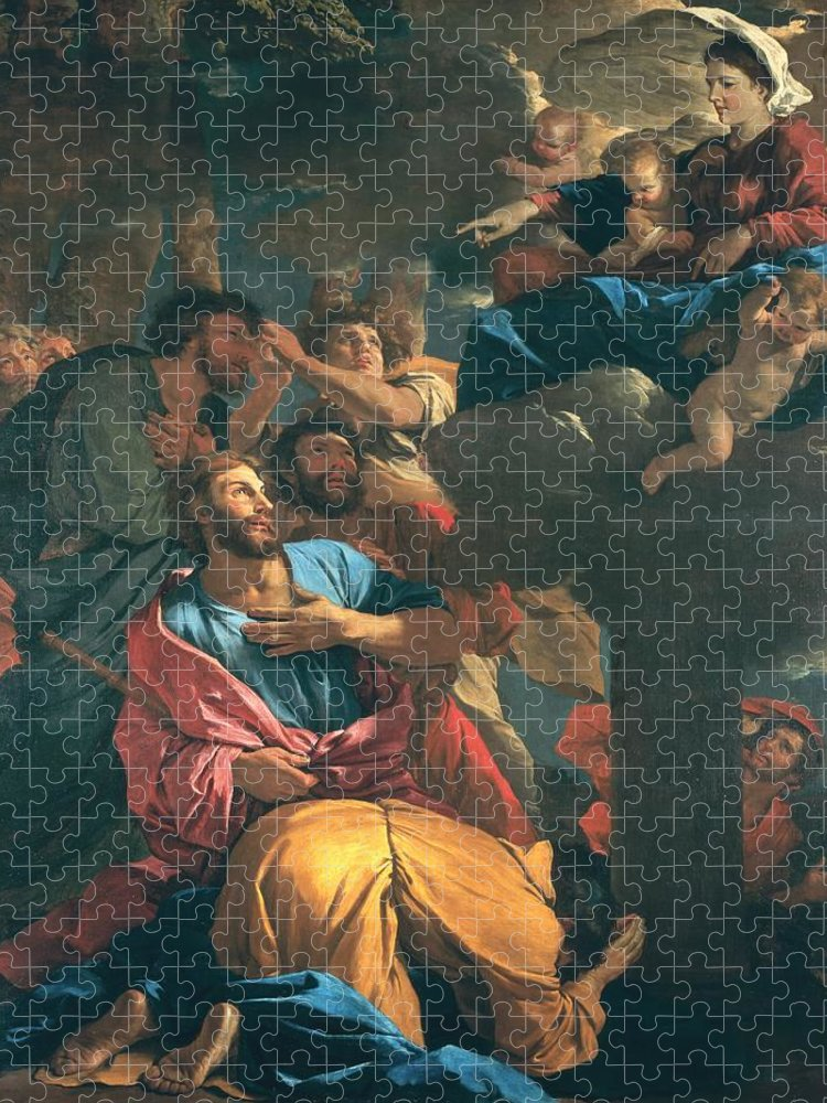 Poussin Puzzle featuring the painting The Apparition of the Virgin the St James the Great by Nicolas Poussin