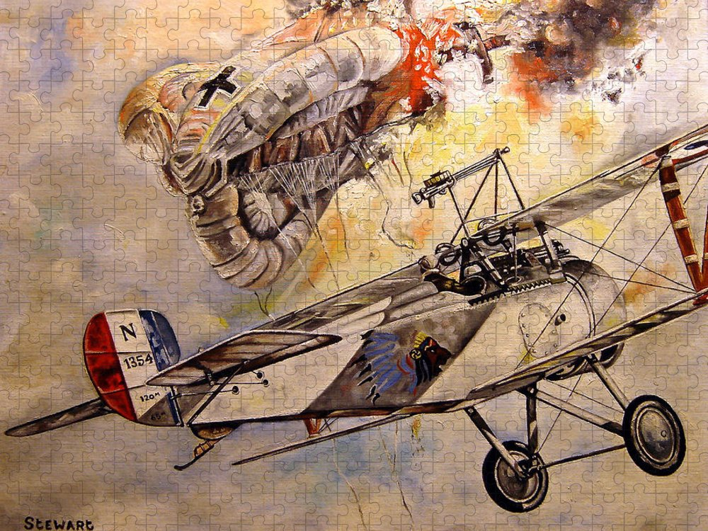 Military Puzzle featuring the painting The Balloon Buster by Marc Stewart