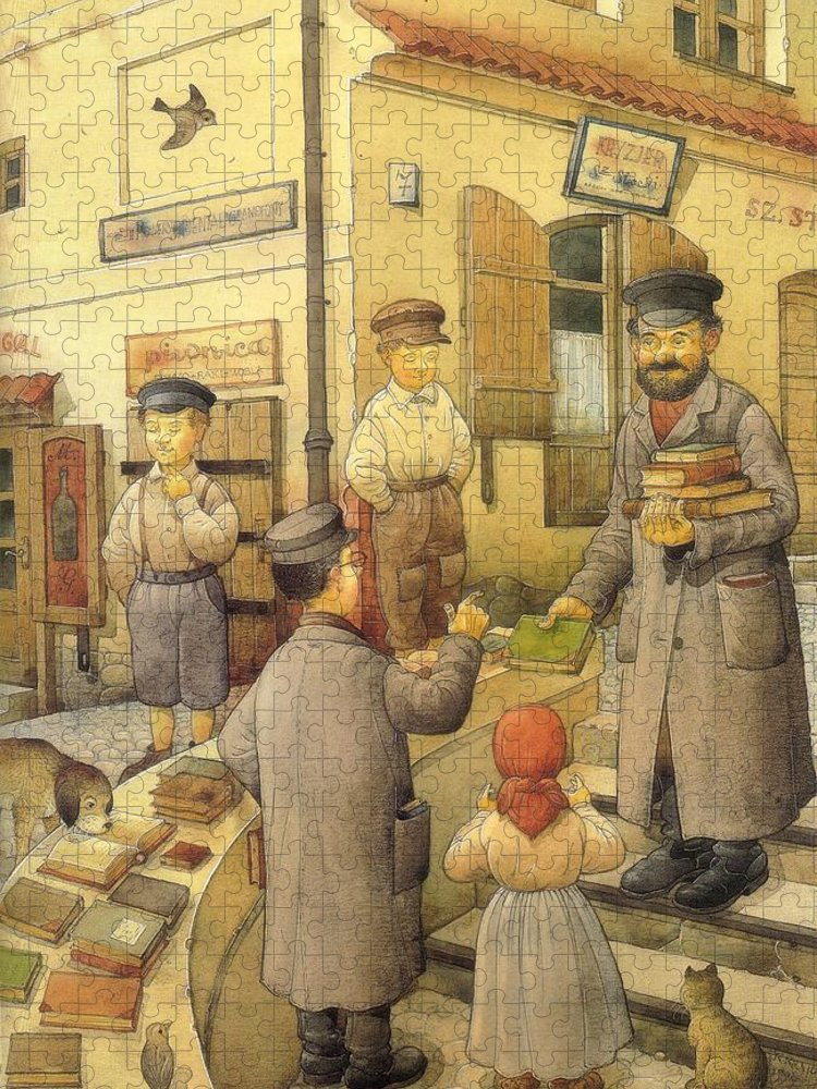 Books Old Town Children Puzzle featuring the painting The Bookman by Kestutis Kasparavicius