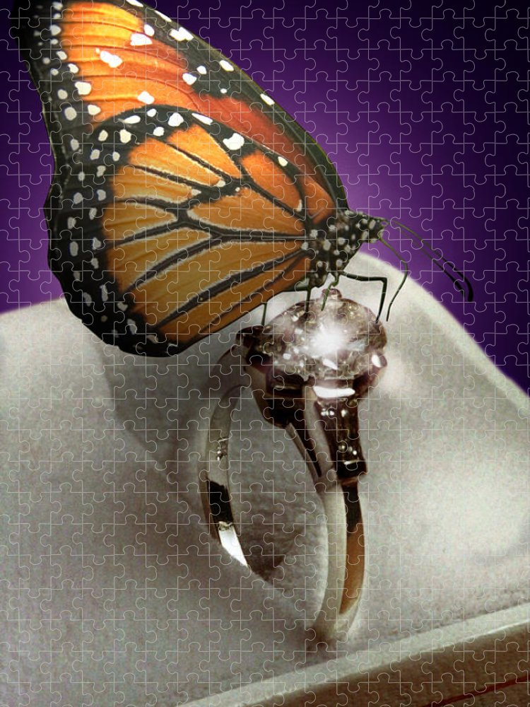 Fantasy Puzzle featuring the mixed media The Butterfly and the Engagement Ring by Yuri Lev
