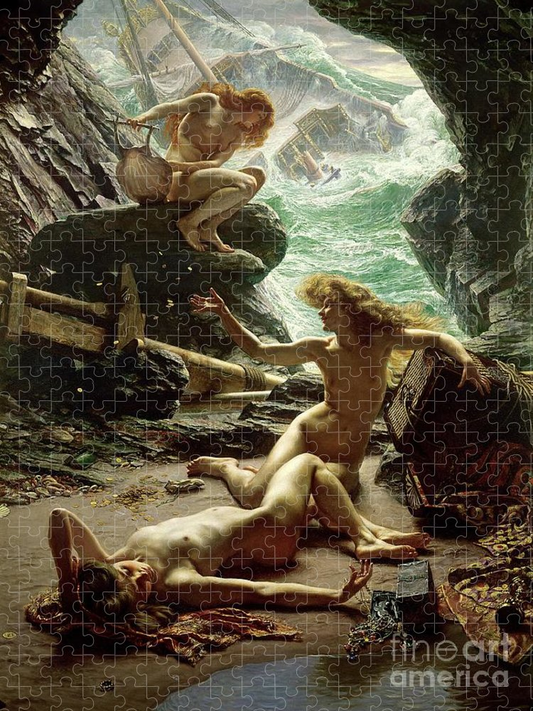 The Cave Of The Storm Nymphs Puzzle featuring the painting The Cave of the Storm Nymphs by Sir Edward John Poynter