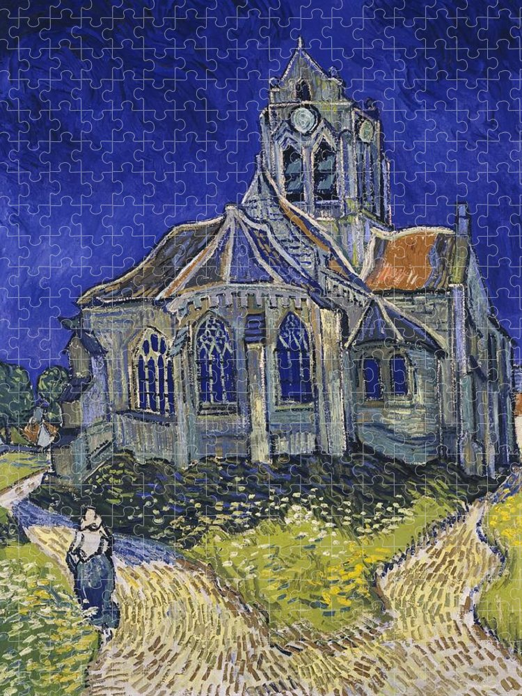 Vincent Van Gogh Puzzle featuring the painting The Church At Auvers by Van Gogh