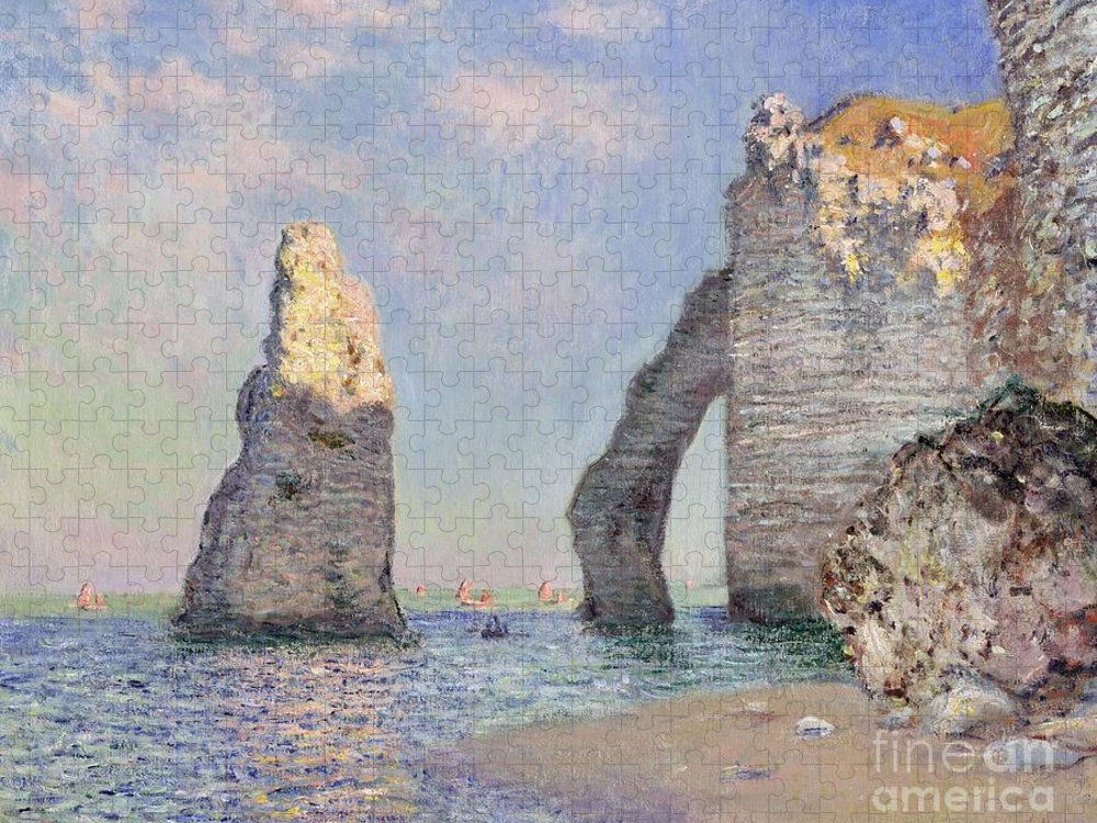 The Cliffs At Etretat Puzzle featuring the painting The Cliffs at Etretat by Claude Monet