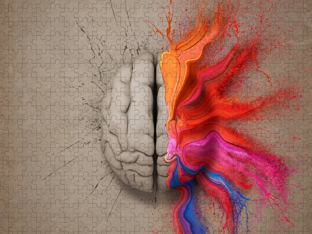 Brain Puzzle featuring the digital art The Creative Brain by Johan Swanepoel