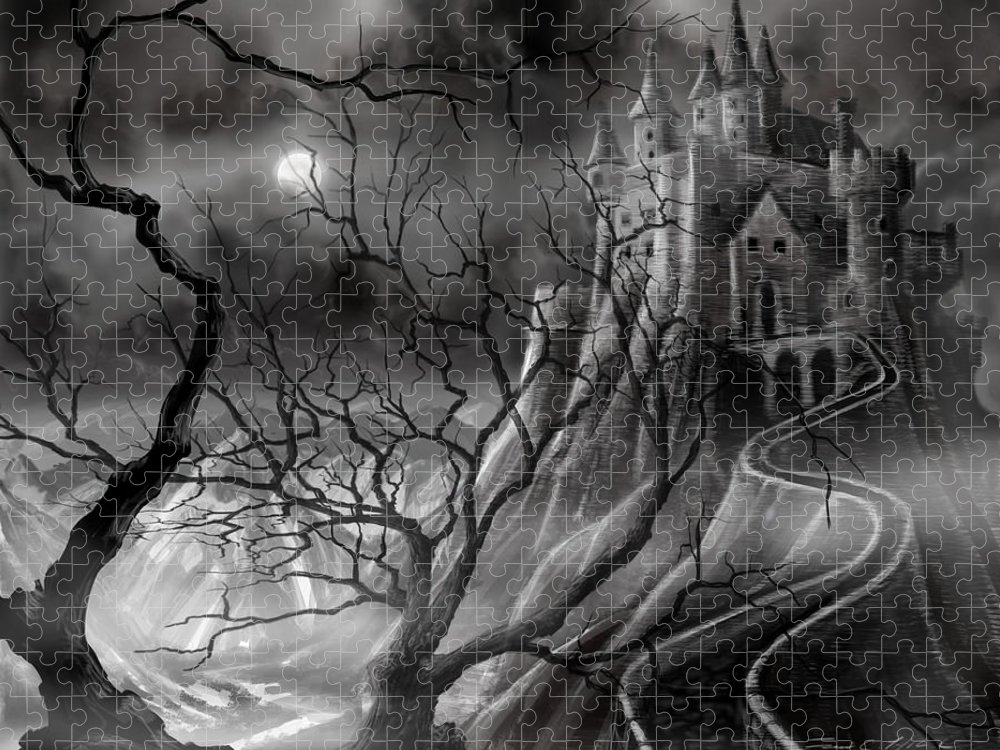 Castle Puzzle featuring the painting The Dark Castle by James Christopher Hill