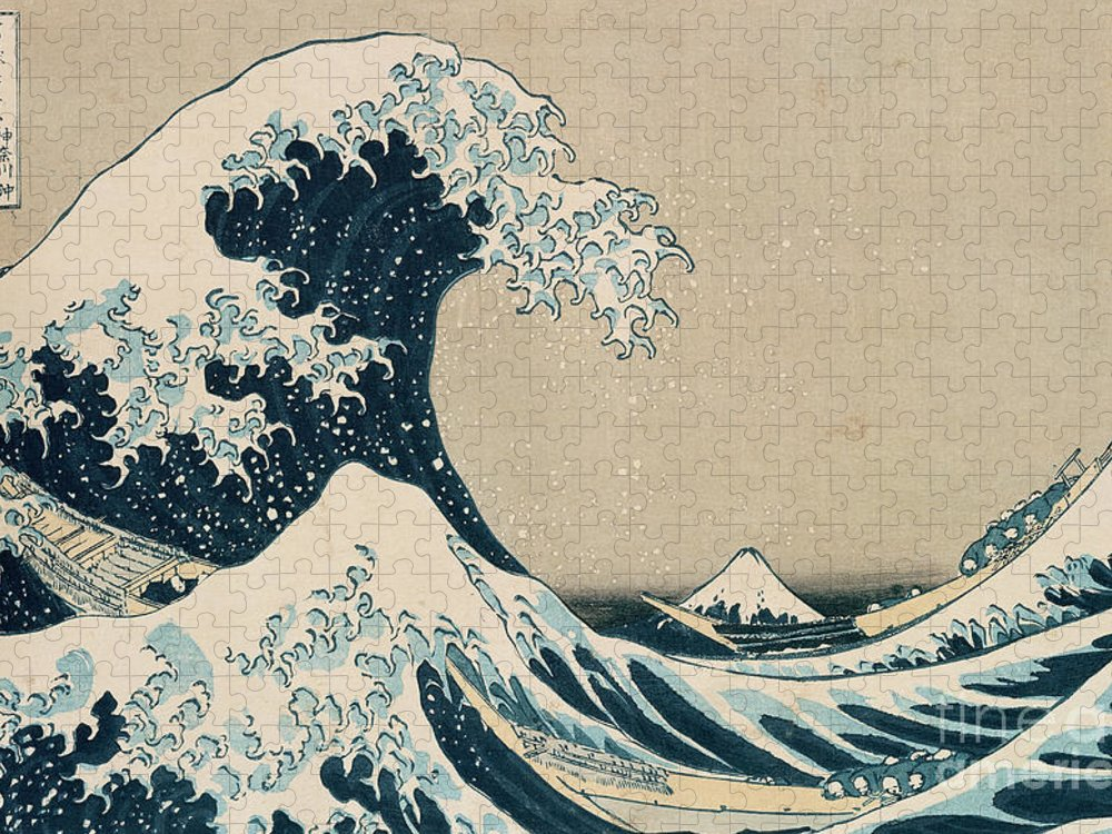 Wave Puzzle featuring the painting The Great Wave of Kanagawa by Hokusai