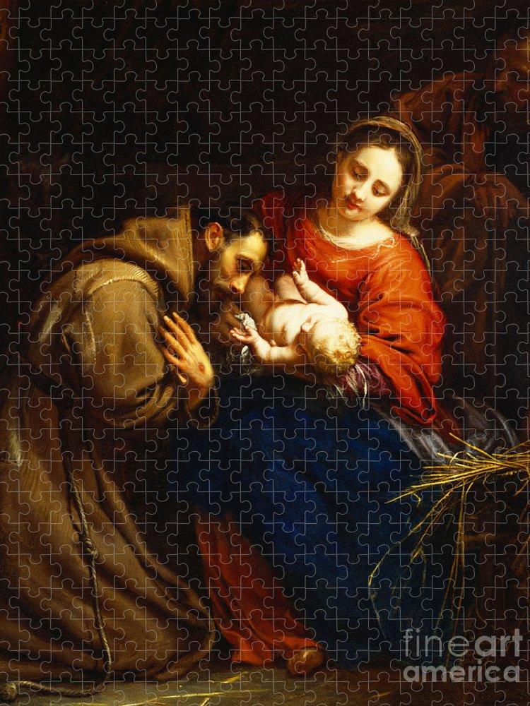 Holy Puzzle featuring the painting The Holy Family with Saint Francis by Jacob van Oost