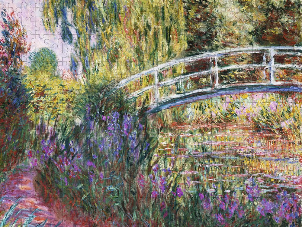 Monet Puzzle featuring the painting The Japanese Bridge by Claude Monet