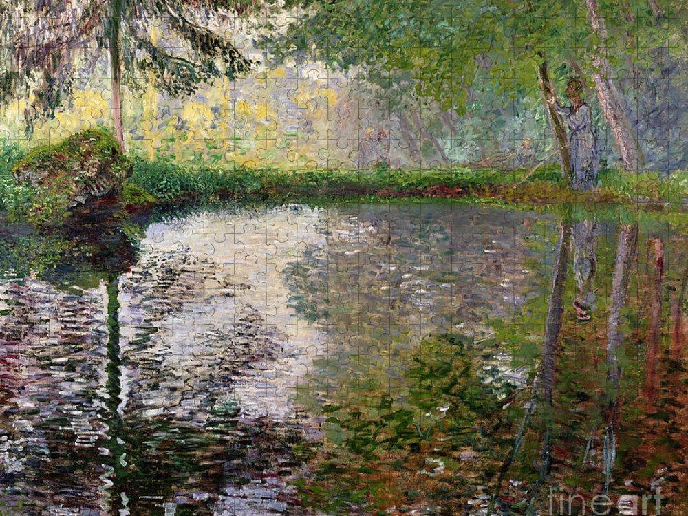 The Lake At Montgeron By Claude Monet (1840-1926) Puzzle featuring the painting The Lake at Montgeron by Claude Monet
