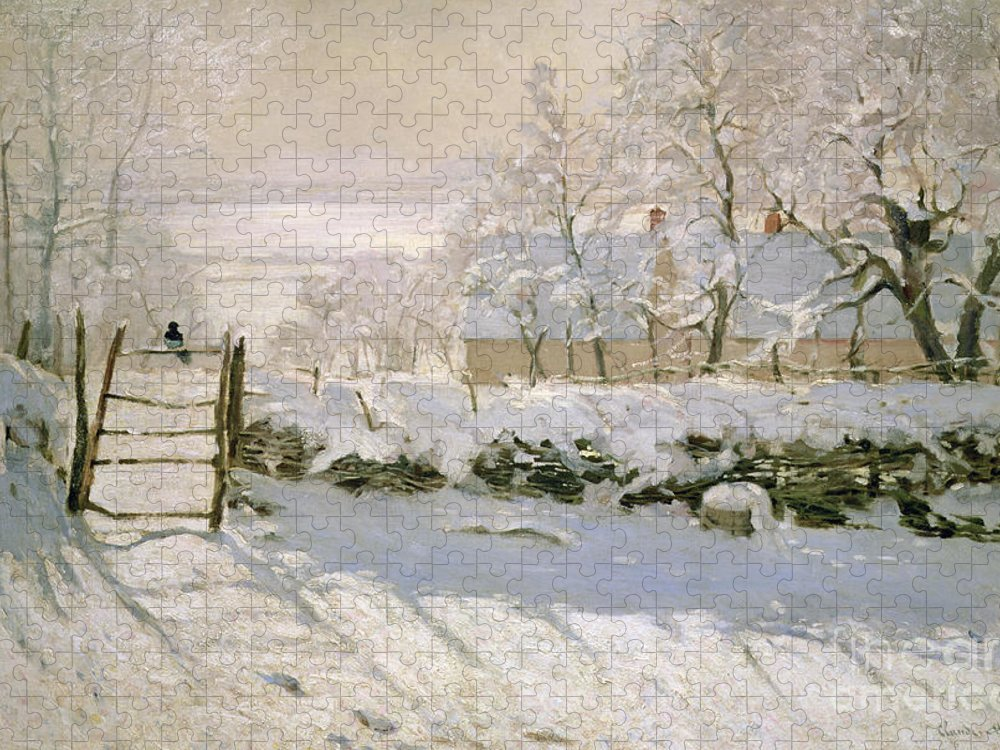 The Puzzle featuring the painting The Magpie by Claude Monet