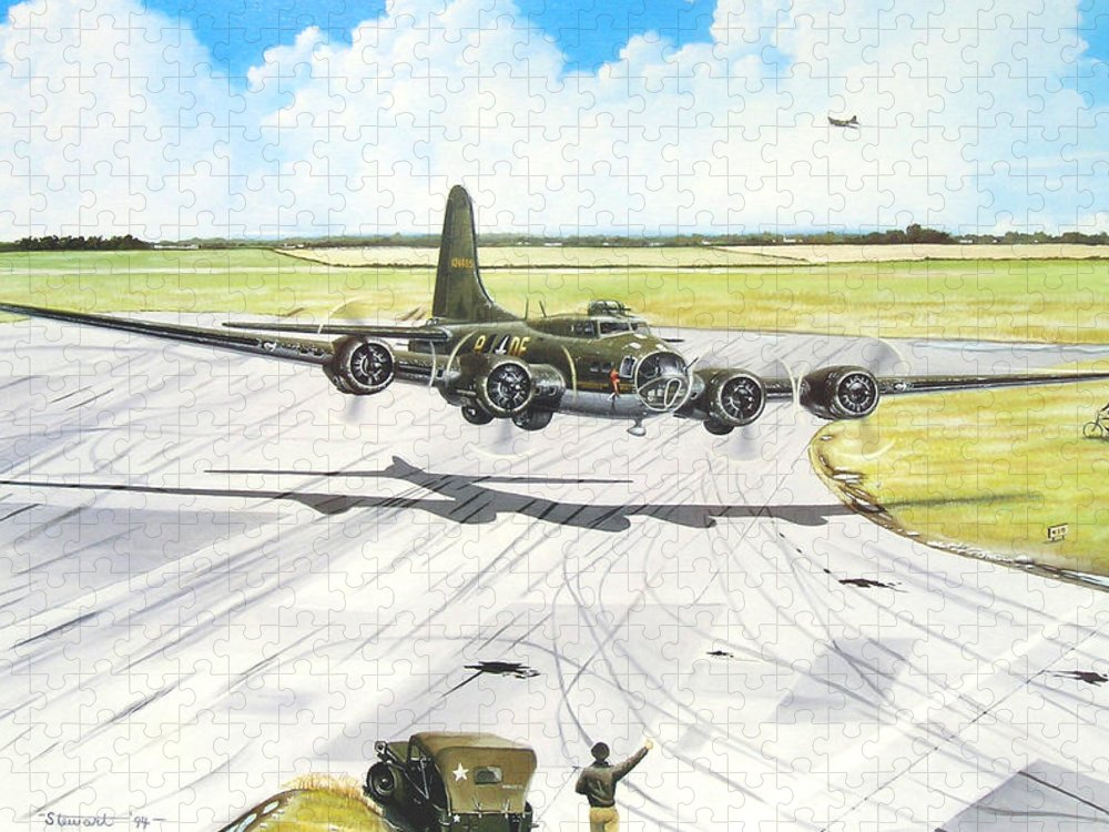 Military Puzzle featuring the painting The Memphis Belle by Marc Stewart