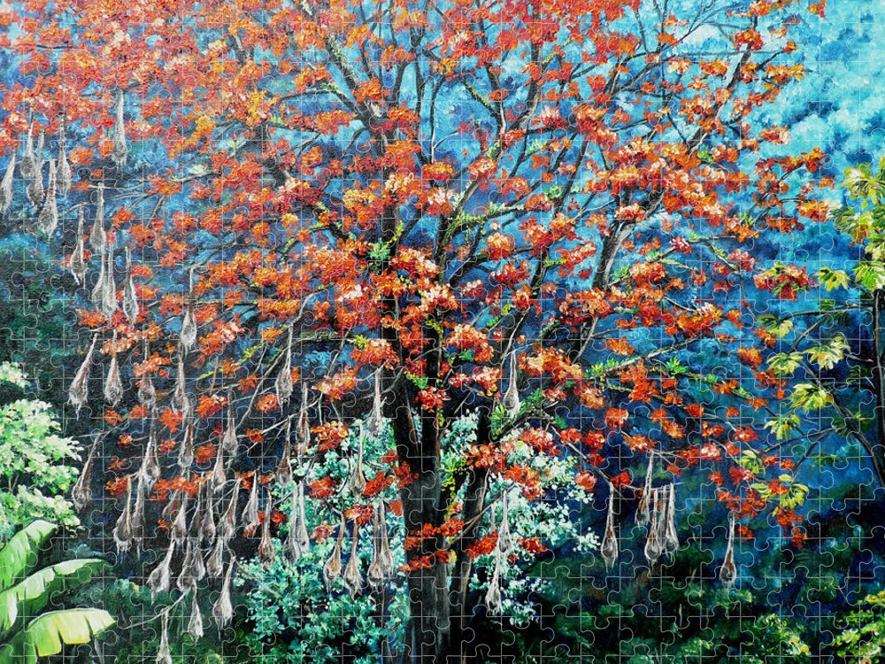 Tree Painting Mountain Painting Floral Painting Caribbean Painting Original Painting Of Immortelle Tree Painting  With Nesting Corn Oropendula Birds Painting In Northern Mountains Of Trinidad And Tobago Painting Puzzle featuring the painting The Mighty Immortelle by Karin Dawn Kelshall- Best