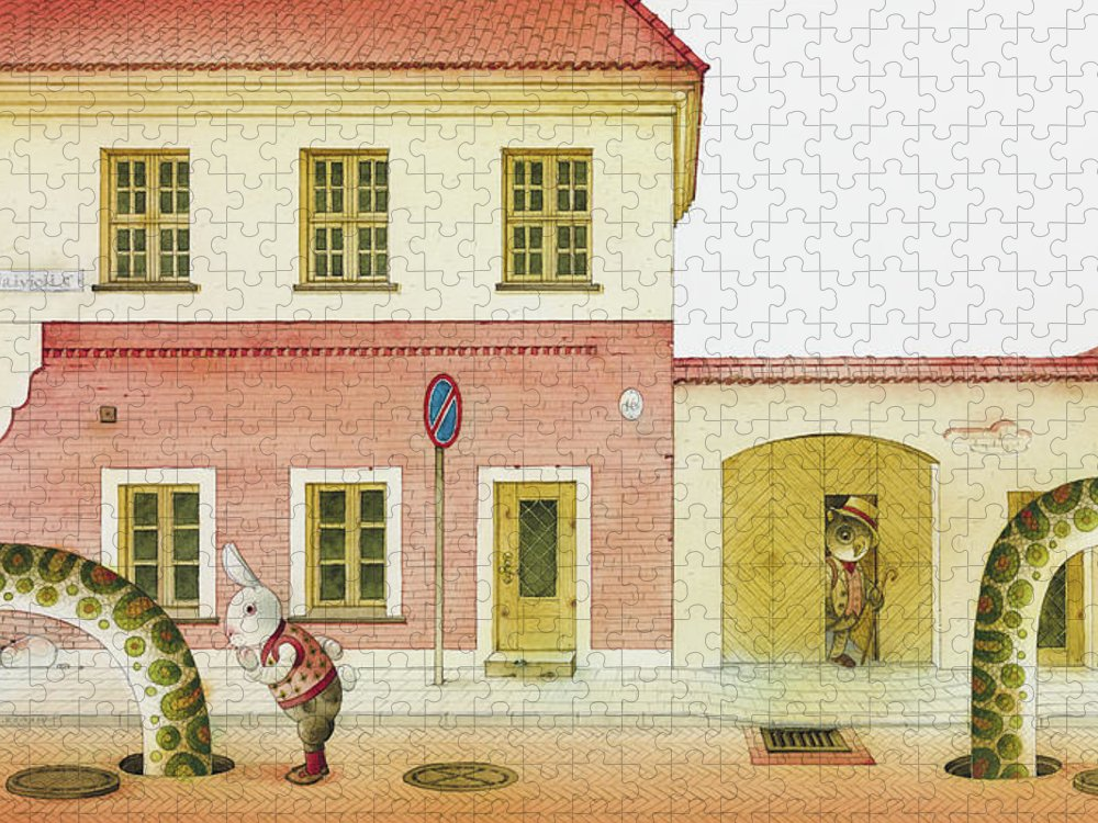 Snake Street Illustration Watercolor Children Book Old Town Rabbit Puzzle featuring the painting The Neighbor around the Corner04 by Kestutis Kasparavicius