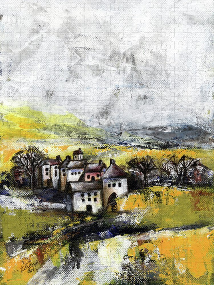 Landscape Puzzle featuring the painting The pink house by Aniko Hencz