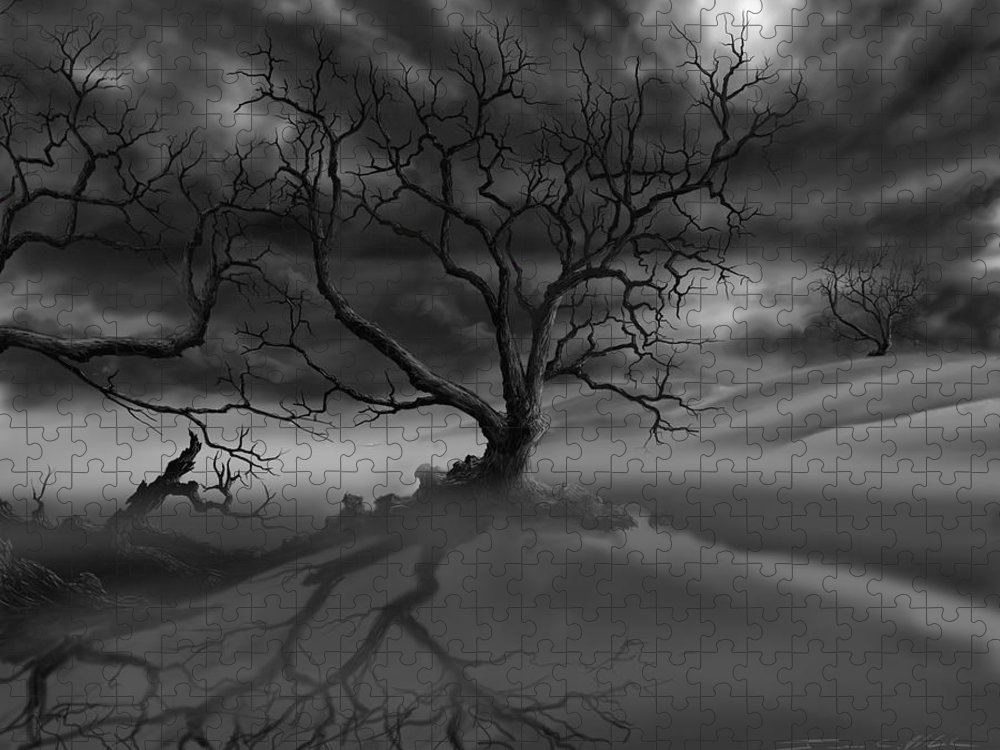 Dark Tree Puzzle featuring the painting The Raven's Night by James Christopher Hill
