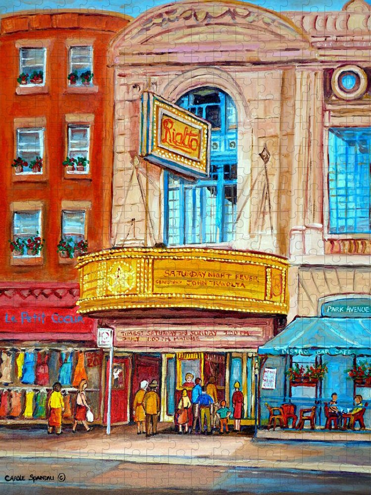 Montreal Puzzle featuring the painting The Rialto Theatre Montreal by Carole Spandau