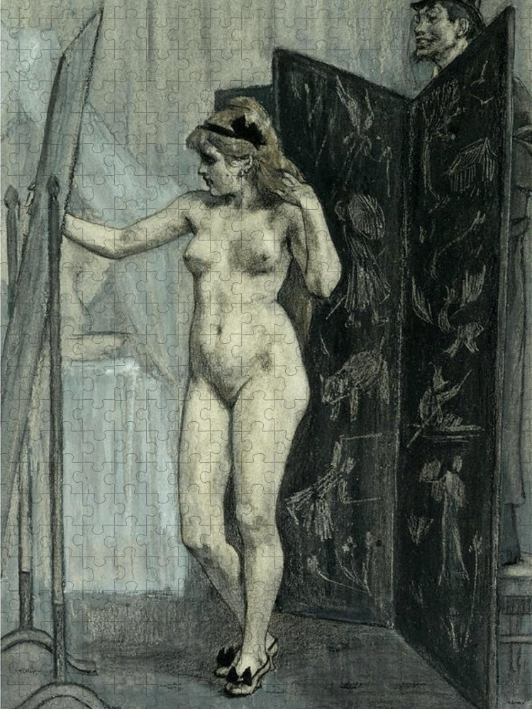 Felicien Rops Puzzle featuring the drawing The Screen by Felicien Rops