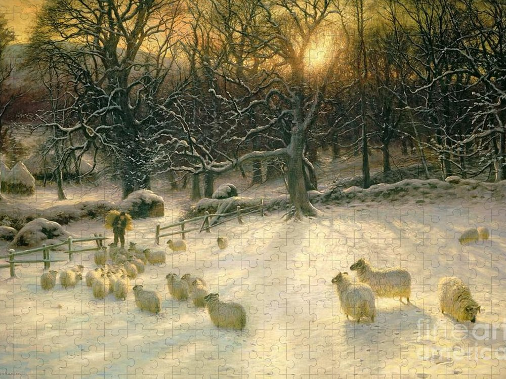 Winter Puzzle featuring the painting The Shortening Winters Day is Near a Close by Joseph Farquharson