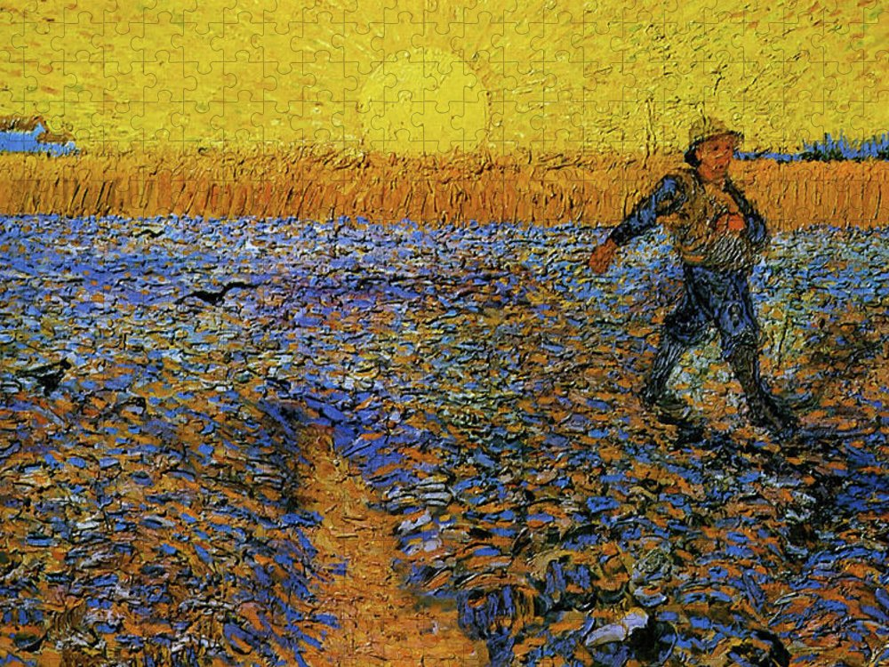 Vincent Van Gogh Puzzle featuring the painting The Sower by Van Gogh